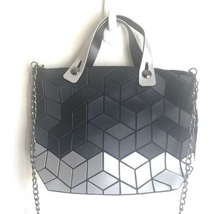 Patrizia Luca Black Gray Geometric  Mini Tote